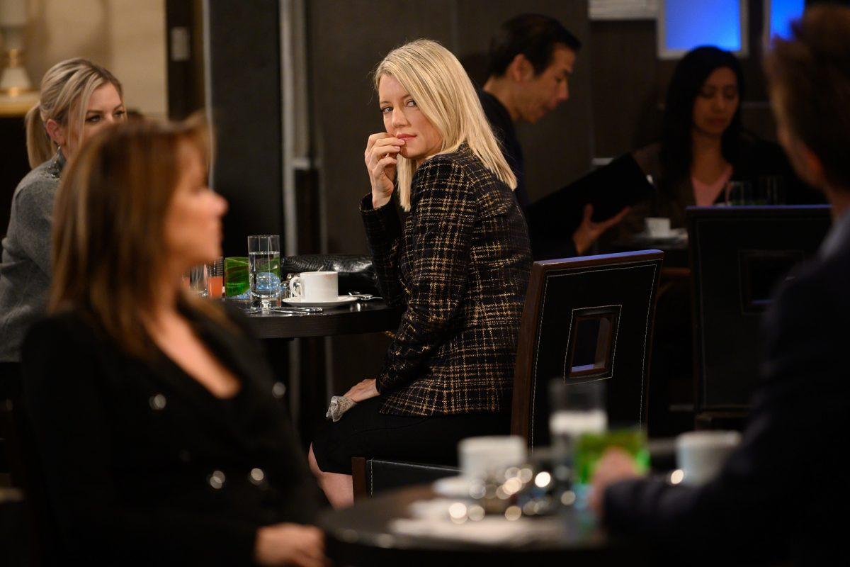 General Hospital spoilers may have Nina - pictured here in a tweed sweater in a restaurant - revealing the truth about Sonny