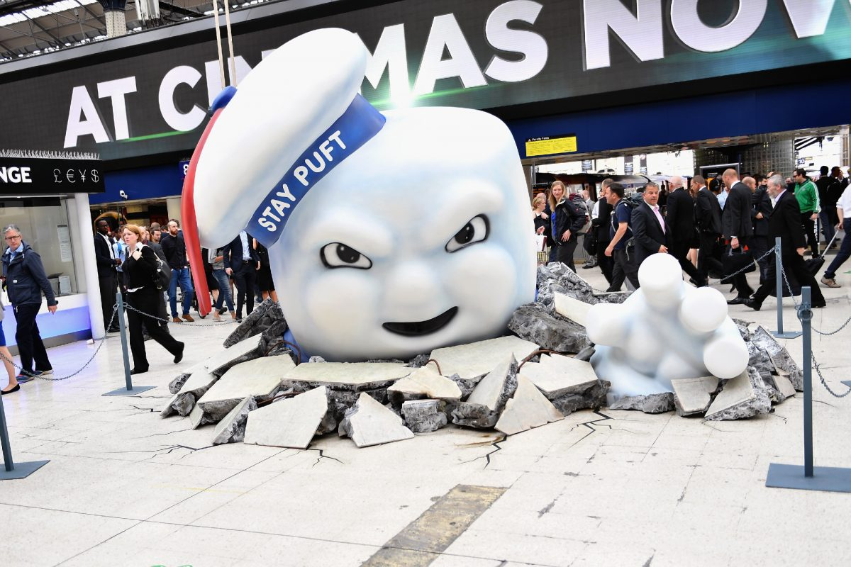 'Ghostbusters': The Stay Puft Marshsmallow Man on the concourse at Waterloo Station