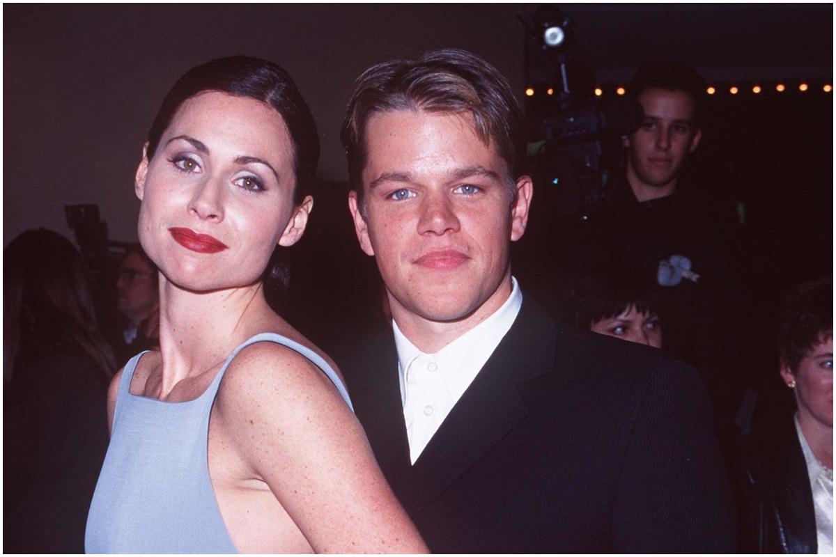 'Good Will Hunting' stars Minnie Driver and Matt Damon smiling at the premiere.