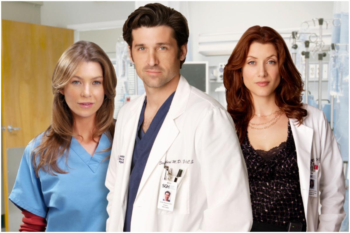 'Grey's Anatomy': Kate Walsh as Addison Montgomery, Patrick Dempsey as Derek Shepherd, and Ellen Pompeo as Meredith Grey wearing medical scrubs.
