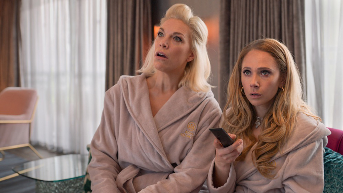 Hannah Waddingham and Juno Temple wearing robes as Rebecca Welton and Keeley Jones on 'Ted Lasso'