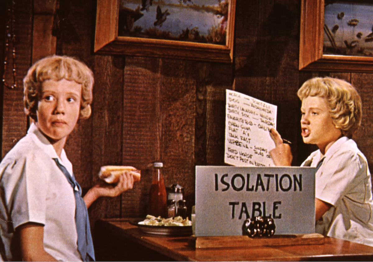 Hayley Mills at a lunch table