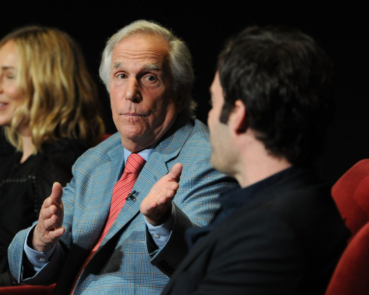 Henry Winkler gesturing to Bill Hader during discussion about 'Barry'