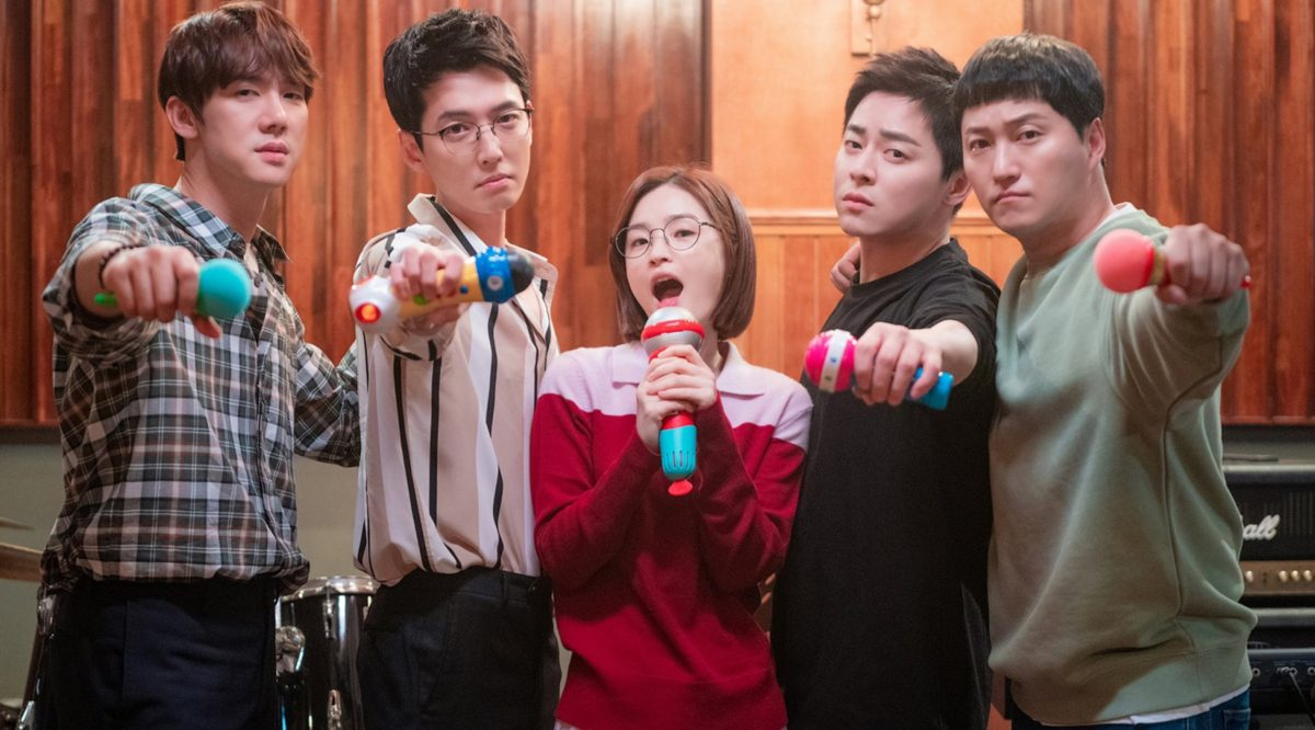'Hospital Playlist 2' main characters in band room holding microphones