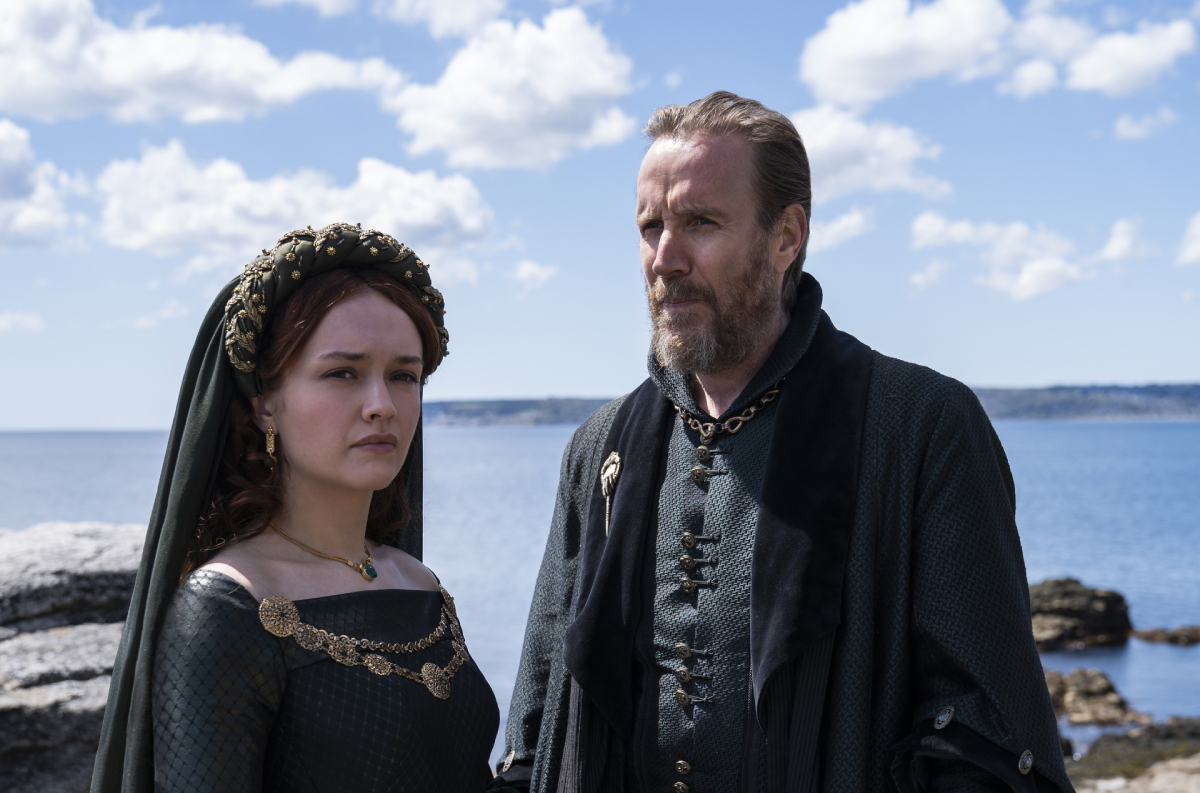 Olivia Cooke (Alicent Hightower) and Rhys Ifans (Otto Hightower) in the 'Game of Thrones' prequel 'House of the Dragon'