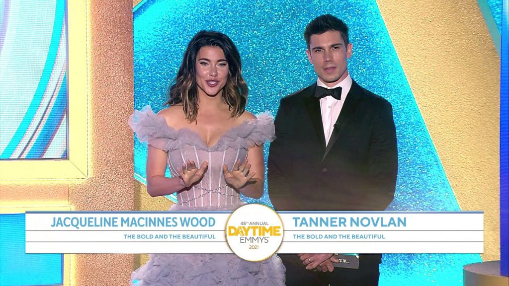 'The Bold and the Beautiful' actors Jacqueline MacInnes Wood and Tanner Novlan at the 2021 Daytime Emmy Awards.
