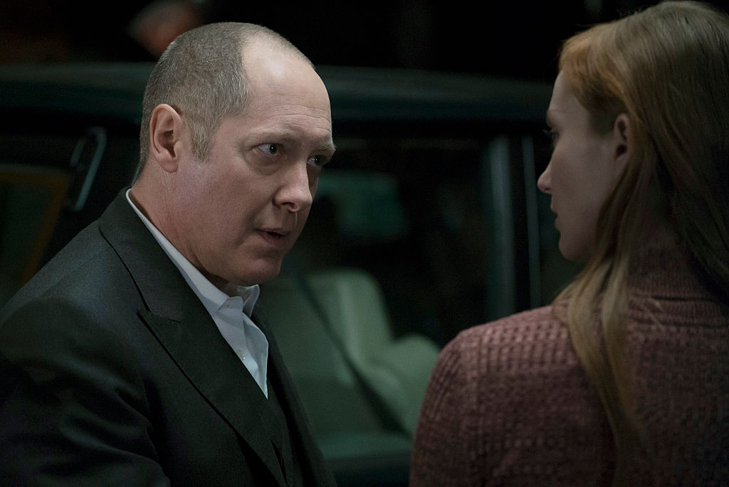 James Spader as Raymond 'Red' Reddington looks to Lotte Verbeek as Woman with concern.