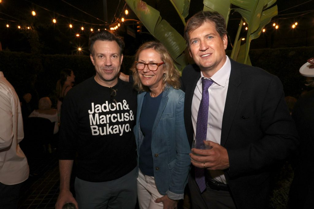 Jason Sudeikis, Ann Sarnoff, and Bill Lawrence at the 'Ted Lasso' Season 2 premiere party
