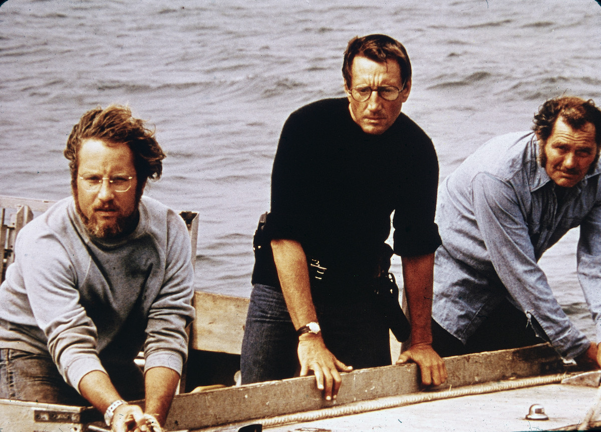 Richard Dreyfuss, Roy Scheider, and Robert Shaw on board a boat in 'Jaws'