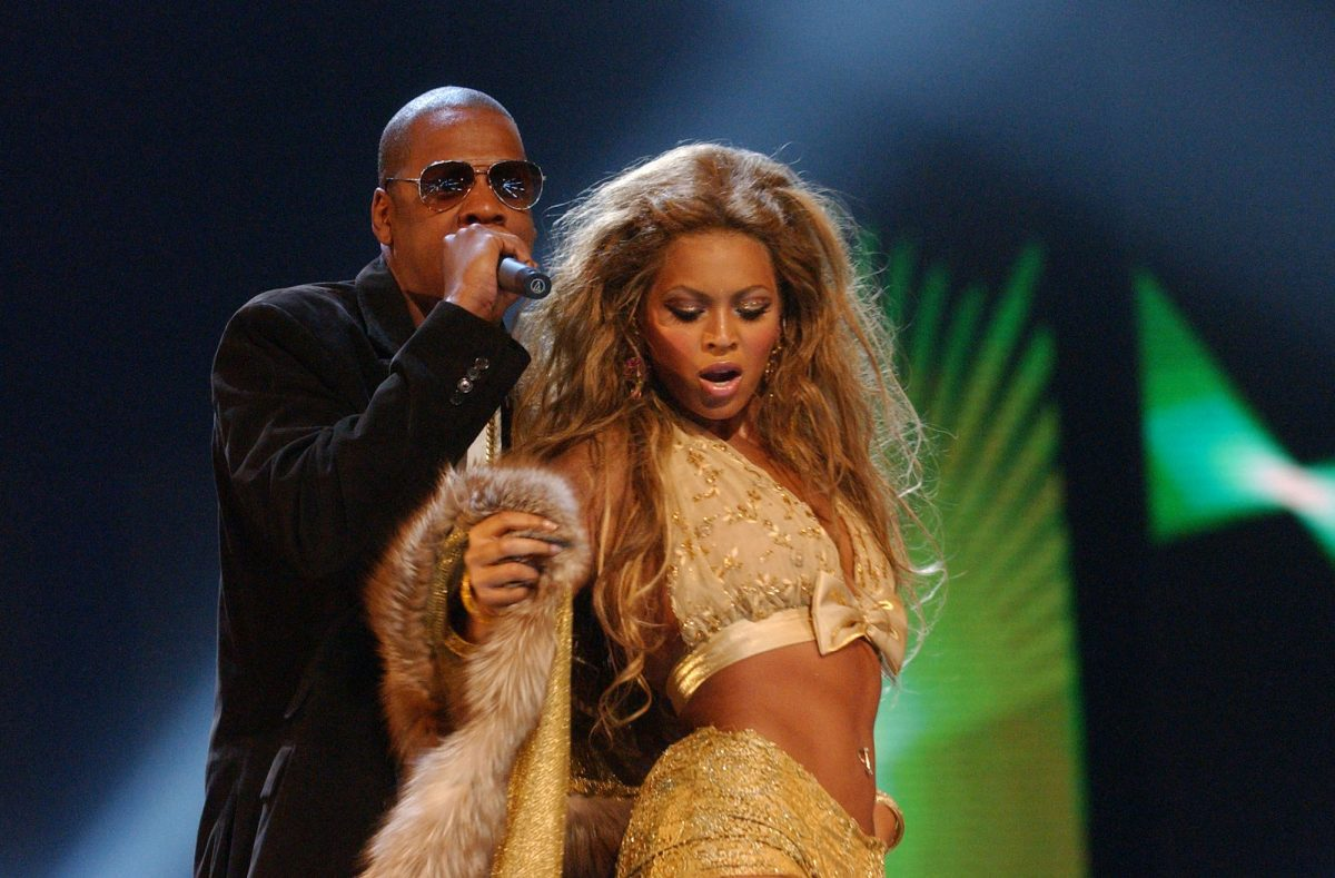 Jay-Z and Beyoncé performing onstage at the 2003 MTV Video Music Awards