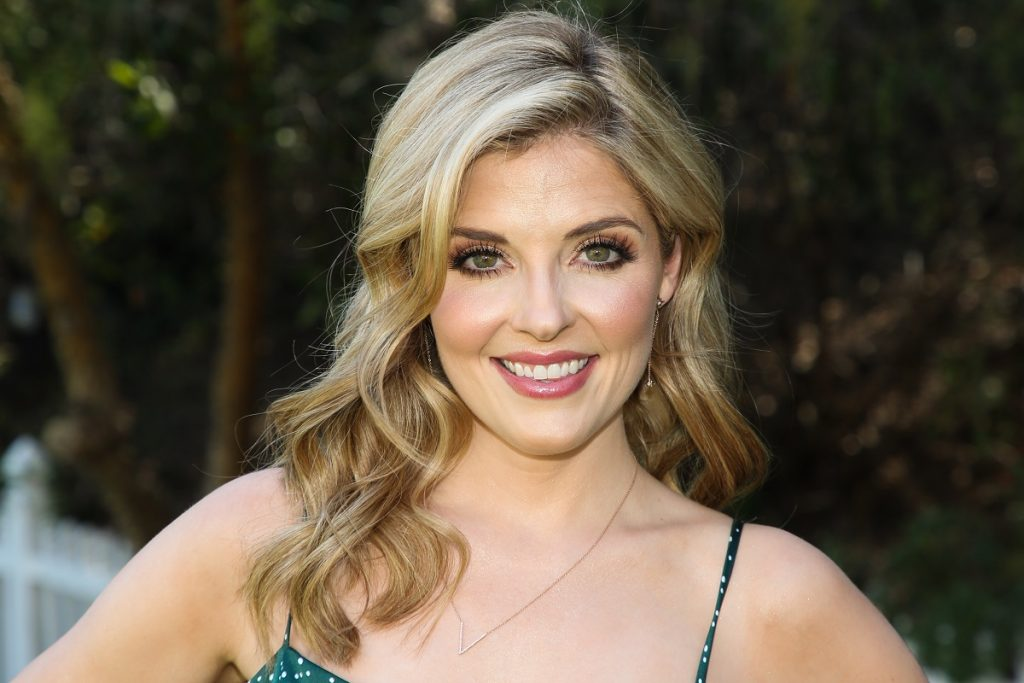 Actor Jen Lilley wears a greens summer dress during her April 2021 appearance on Hallmark Channel's 'Home & Family.'