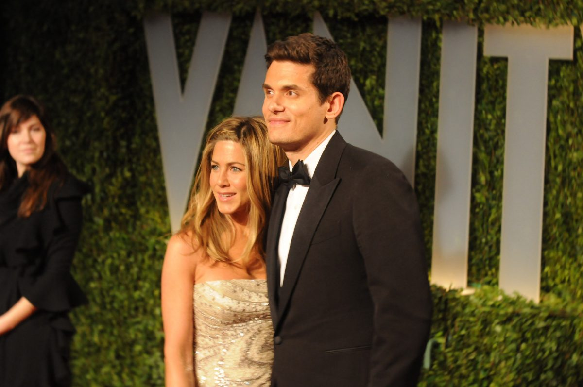 Jennifer Aniston and John Mayer attending the 2008 Vanity Fair Oscar Party in Hollywood