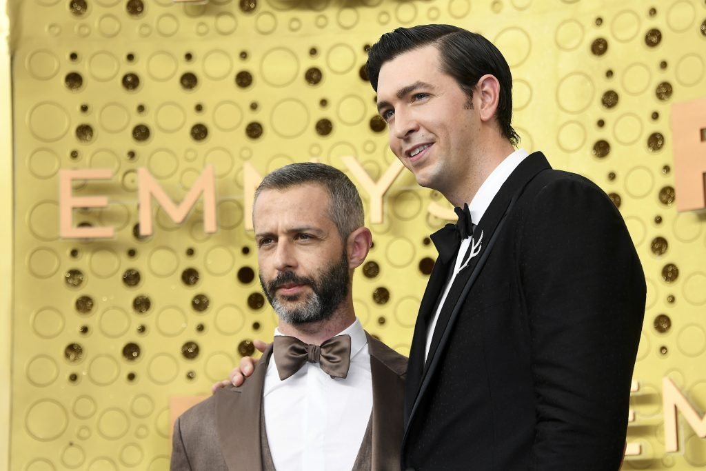 LOS ANGELES, CALIFORNIA - SEPTEMBER 22: (L-R) Jeremy Strong and Nicholas Braun attend the 71st Emmy Awards at Microsoft Theater on September 22, 2019 in Los Angeles, California.