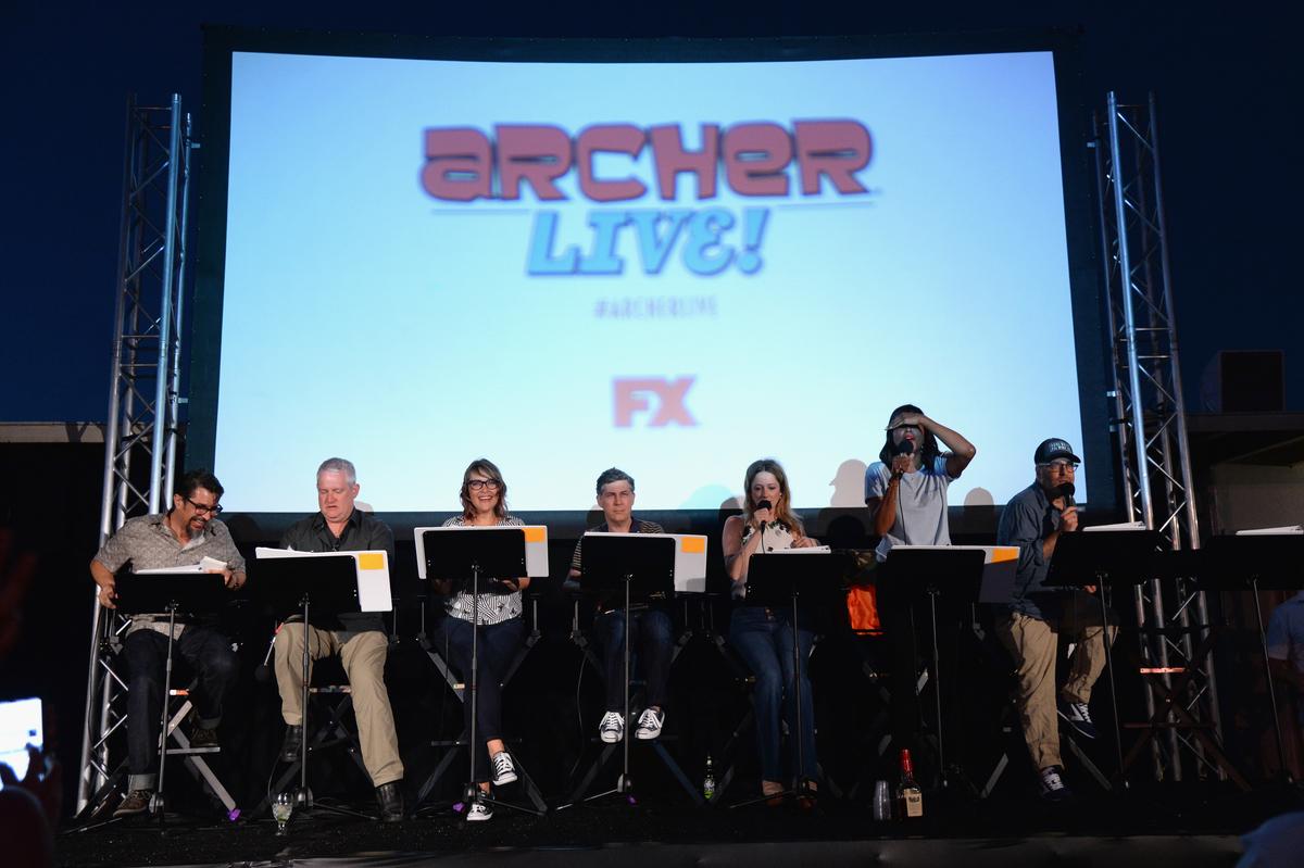 "Lucky Yates, Adam Reed, Amber Nash, Chris Parnell, Judy Greer, Aisha Tyler and H. Jon Benjamin at ""ARCHER Live!"""