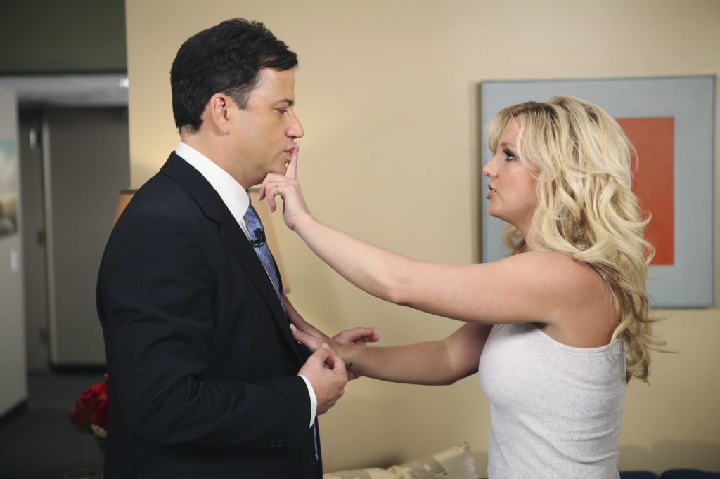 Britney Spears holding her finger to Jimmy Kimmel's mouth in a 'shushing' motion