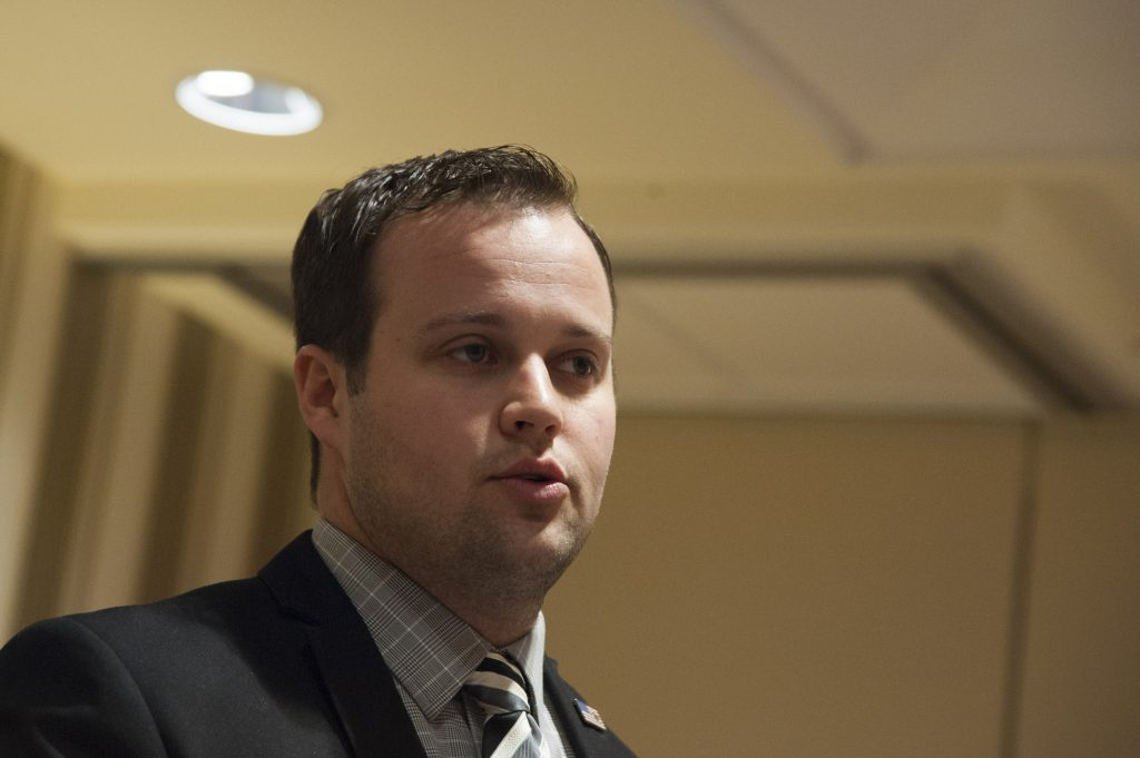 A close-up of Josh Duggar from the Duggar family speaking during the 42nd annual Conservative Political Action Conference