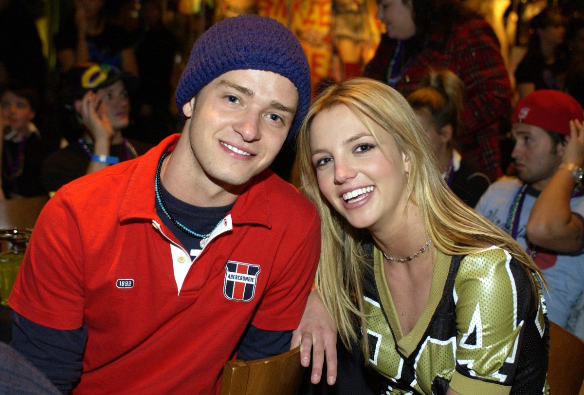 Justin Timberlake and Britney Spears posing together at the Super Bowl Fundraiser at Planet Hollywood Times Square