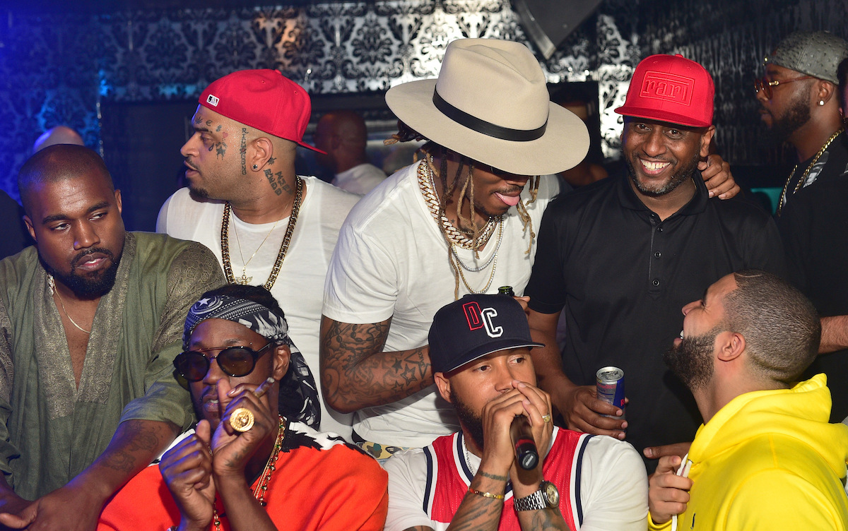 Kanye West, 2 Chainz, Future, Kenny Burns, Alex Gidewon and Drake share conversation and party together at Compound on June 20, 2015 in Atlanta, Georgia.