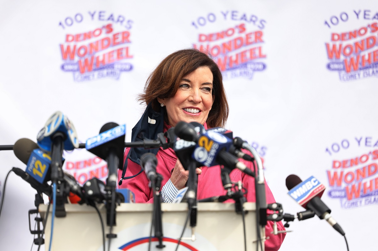 Kathy Hochul speaking during a Coney Island parks reopening event
