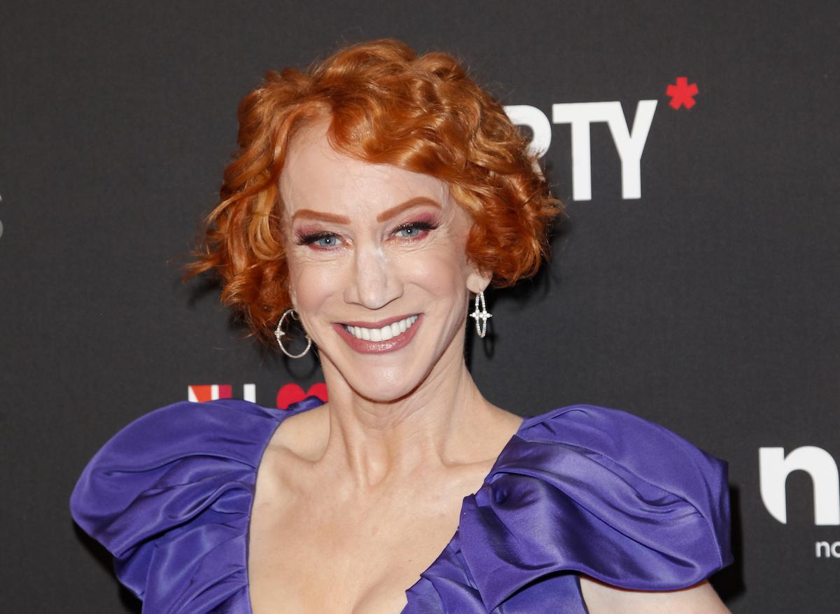 Kathy Griffin in purple dress