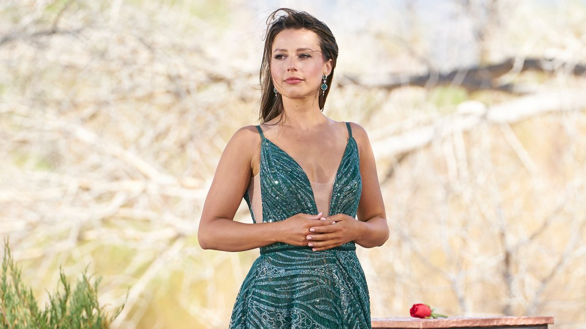 Katie Thurston stands in front of a single rose in 'The Bachelorette' Season 17 finale in 2021