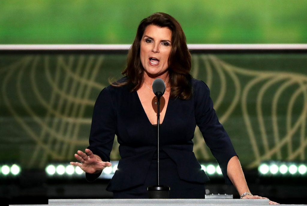 'The Bold and the Beautiful' actor Kimberlin Brown gives a speech at the 2016 Republican National Convention in Cleveland, Ohio.