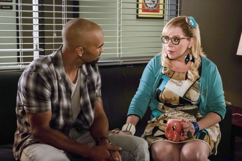 """LOS ANGELES - SEPTEMBER 8: """"Lucky Strikes"""" -- When Garcia experiences anxiety over a case that's personal to her from her past, Morgan visits to lend emotional support, on CRIMINAL MINDS, Wednesday, Oct. 25 (10:00-11:00 PM, ET/PT) on the CBS Television Network. Pictured: Shemar Moore (Derek Morgan), Kirsten Vangsness (Penelope Garcia)"""