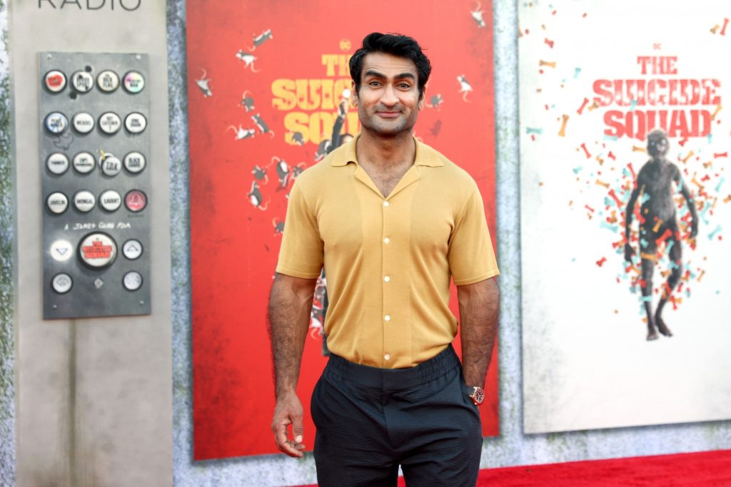 """LOS ANGELES, CALIFORNIA - AUGUST 02: Kumail Nanjiani attends the Warner Bros. premiere of """"The Suicide Squad"""" at Regency Village Theatre on August 02, 2021 in Los Angeles, California."""