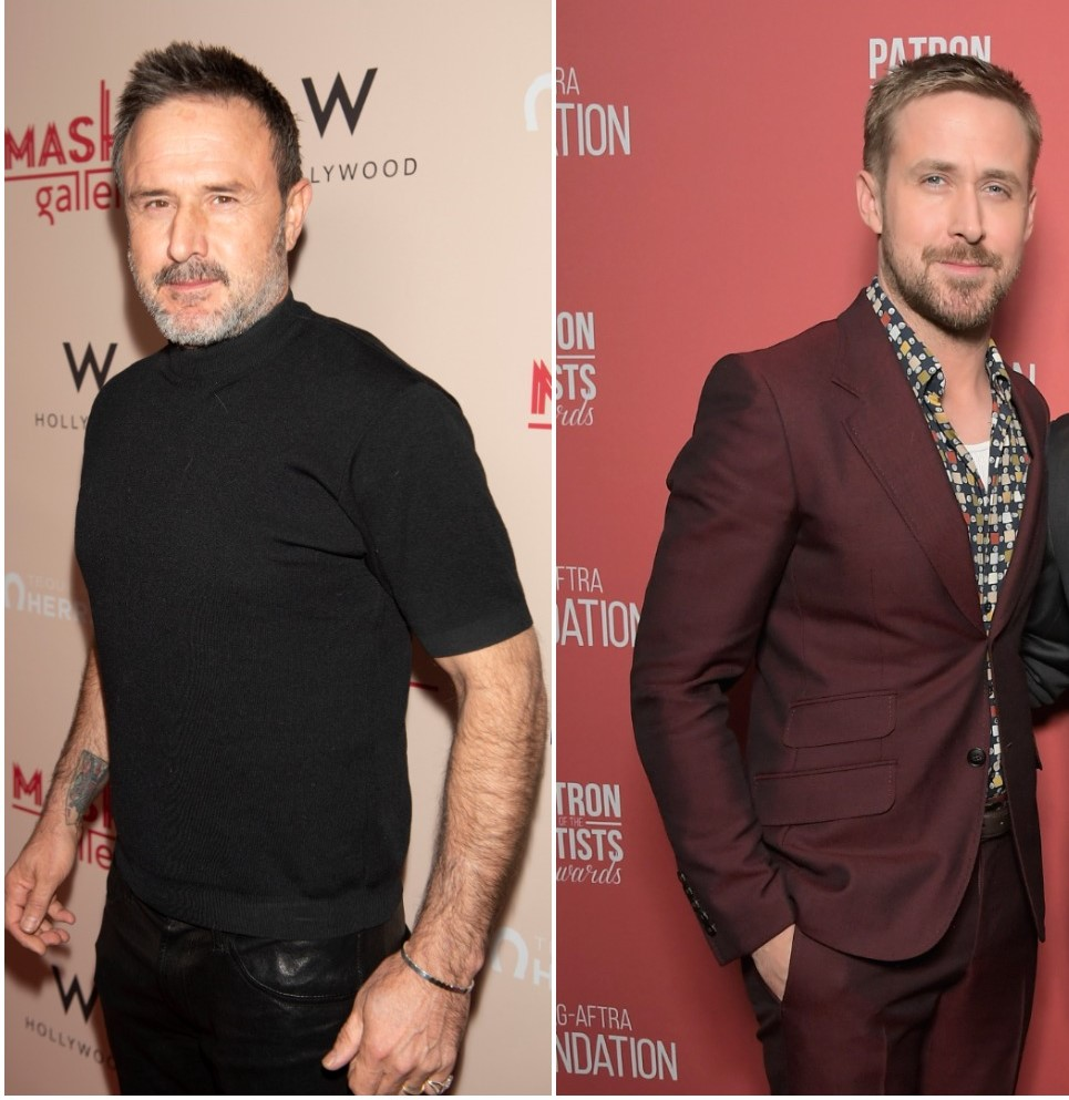 (L): David Arquette poses for photo at A Gogo by Mash Gallery, (R): Ryan Gosling poses for photo at the SAG-AFTRA Foundation Awards