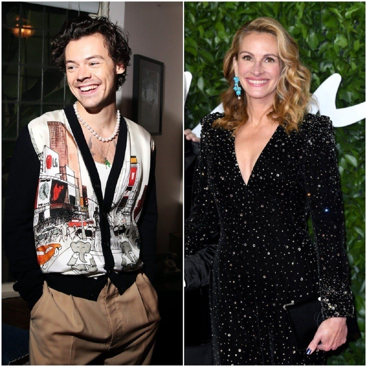 (L): Harry Styles laughing at a Spotify listening session, (R): Julia Roberts smiling in a black sparkling gown at The Fashion Awards