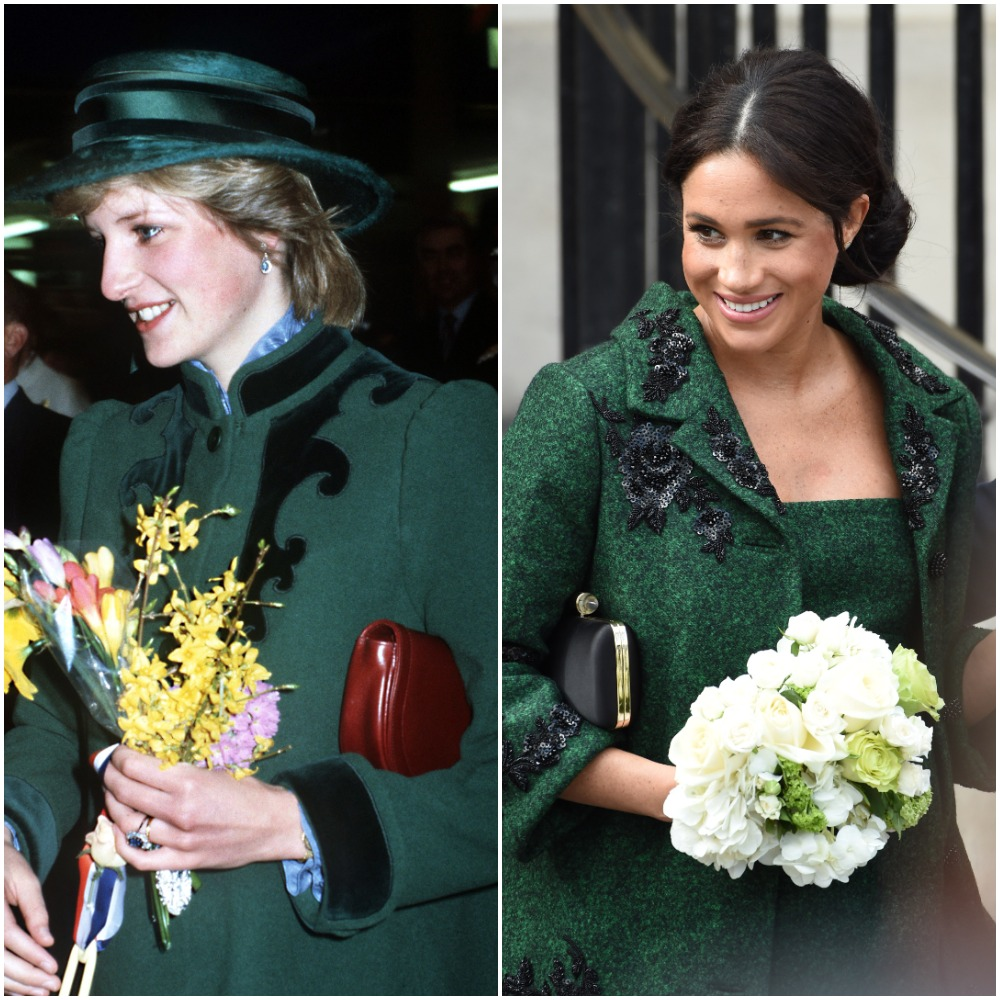 (L) Princess Diana holding flowers and wearing a green coat in 1982, (R) Meghan Markle holding flowers and wearing a green coat in 2019