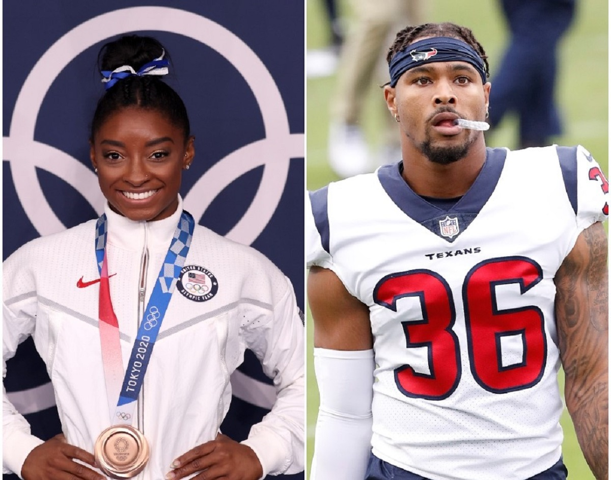 (L) Simone Biles poses with the bronze medal following Balance Beam Final at Tokyo Olympics, (R) Jonathan Owens leaves the field after a game against the Tennessee Titans