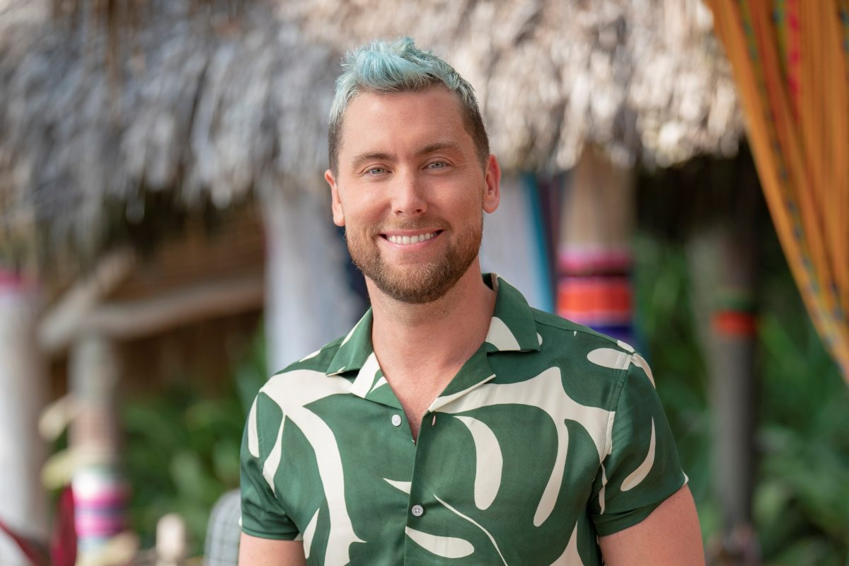Lance Bass in a green and white patterned shirt.