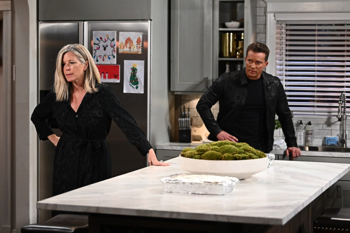 Laura Wright and Steve Burton during a scene on 'General Hospital'