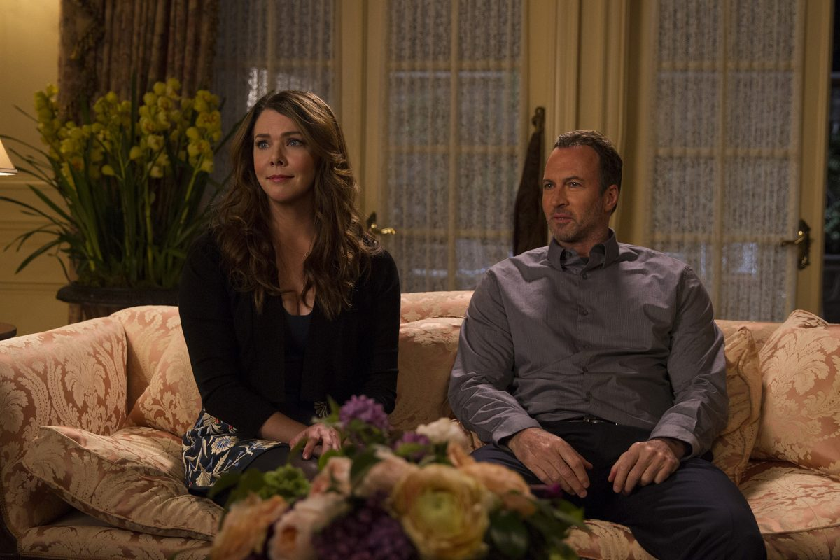 Lauren Graham as Lorelai Gilmore and Scott Patterson as Luke Danes in 'Gilmore Girls: A Year in the Life'