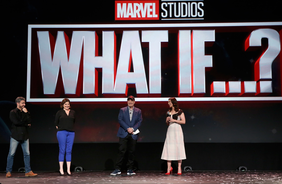 WHAT IF...?: Bryan Andrews, A.C. Bradley, Kevin Feige, and Hayley Atwell at Disney+ Showcase