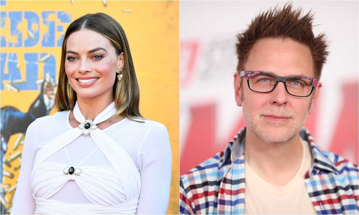 A joined photo of Margot Robbie at 'The Suicide Squad' premiere and director James Gunn at the 'Ant-Man And The Wasp' premiere