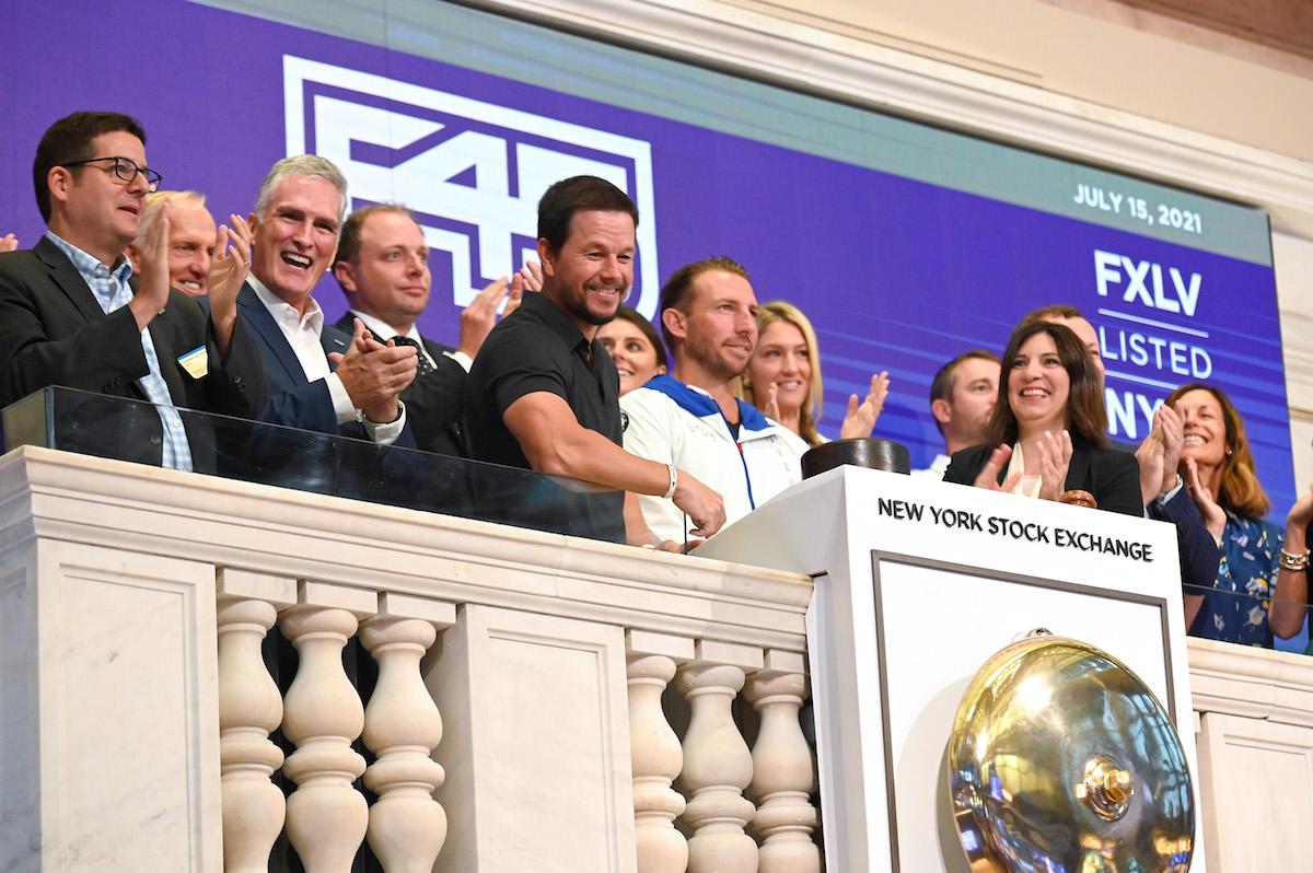 Mark Wahlberg rings bell on the floor of the New York Stock Exchange