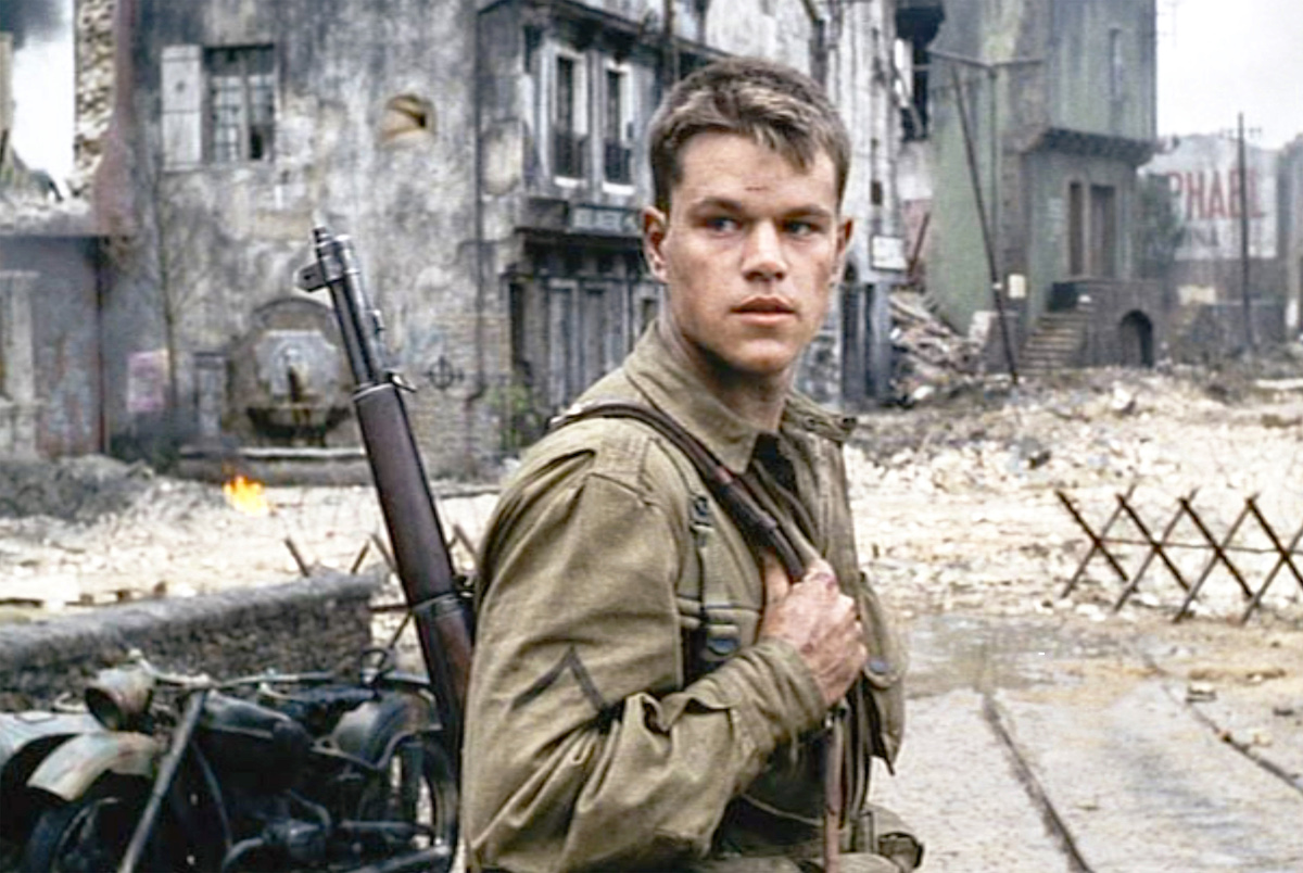 Matt Damon holds his weapon as he turns around in a scene from 'Saving Private Ryan'