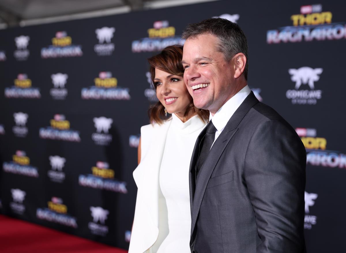 "Luciana Barroso and Matt Damon at The World Premiere of Marvel Studios' ""Thor: Ragnarok"""