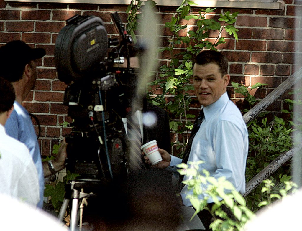Matt Damon looks at the camera while filming 'The Departed'