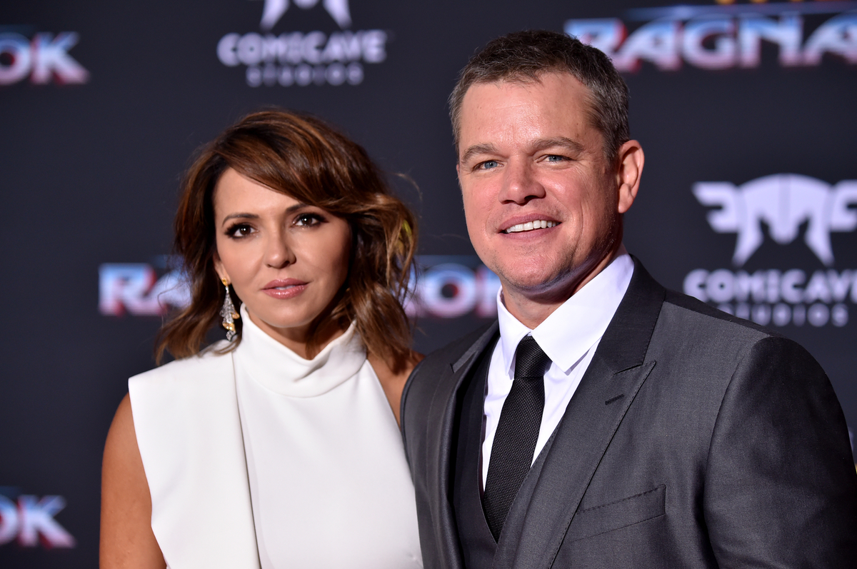 Matt Damon and Luciana Barroso at 'Thor: Ragnarok' premiere