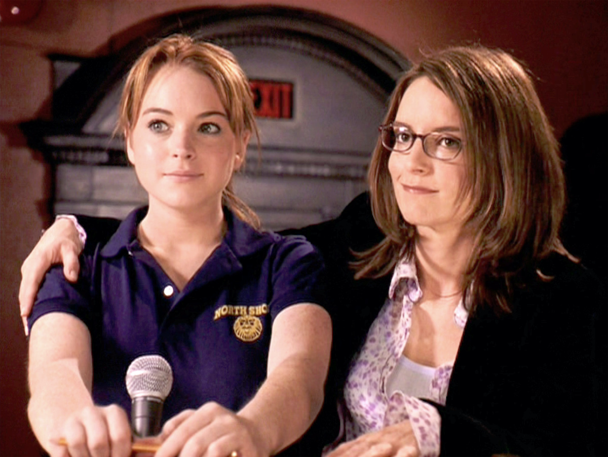 """Mean Girls"""", directed by Mark Waters. Seen here at the Illinois High School Mathletes State Championship, from left, Lindsay Lohan as Cady Heron and Tina Fey as Ms. Sharon Norbury."""