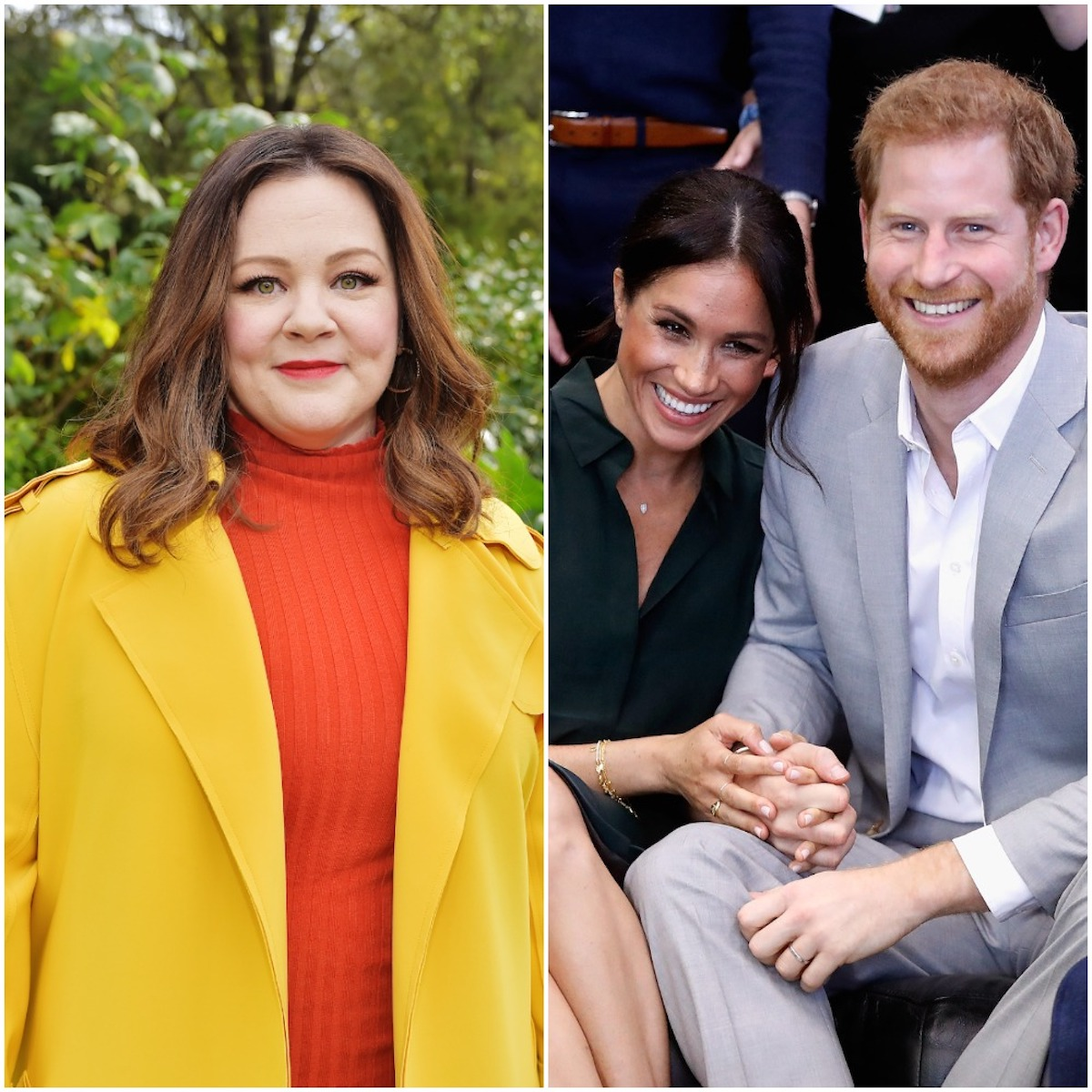 Melissa McCarthy smiles in a red and yellow outfit in 2019; Meghan Markle and Prince Harry smile and hold hands in 2018