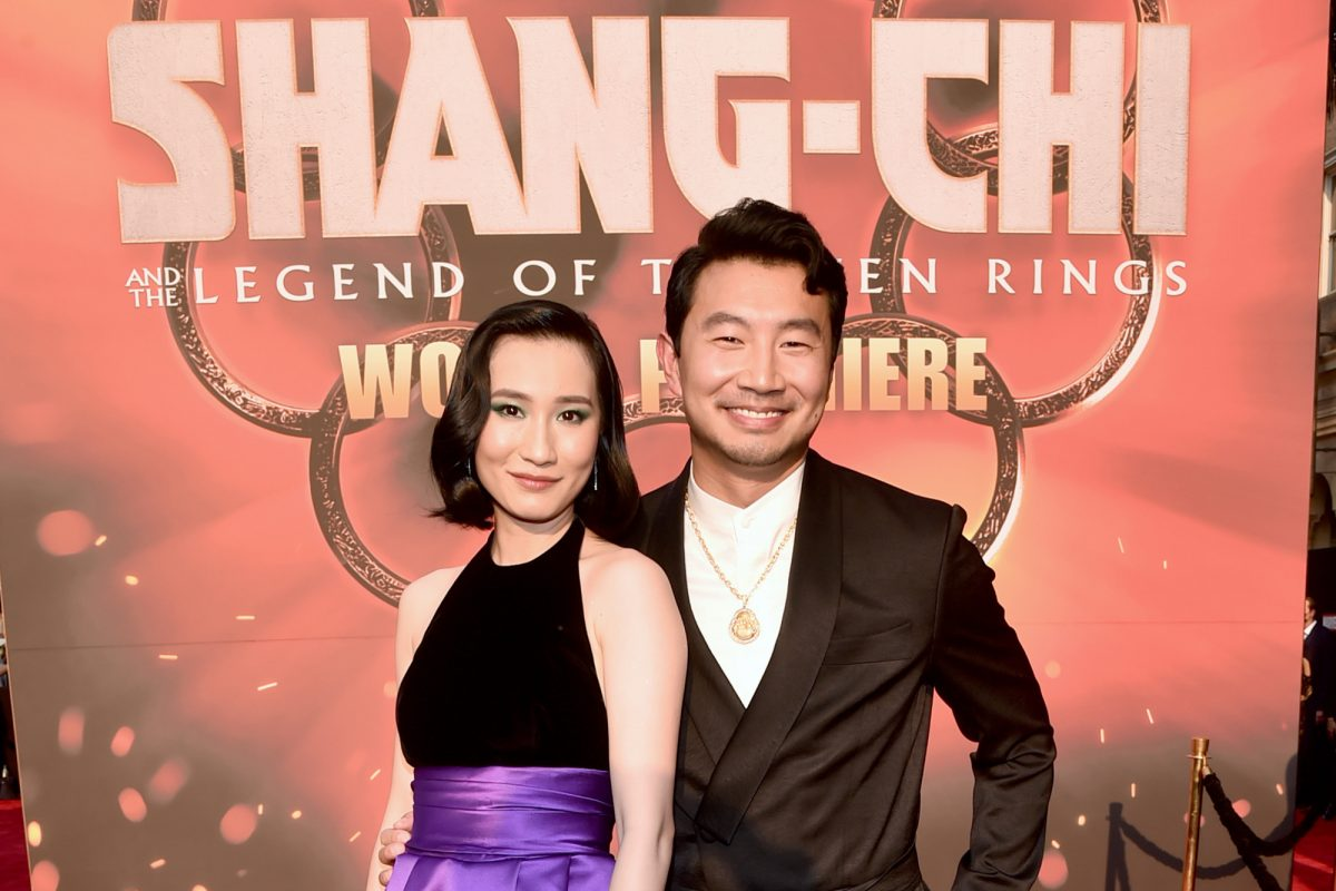 Meng'er Zhang and Simu Liu pose at 'Shang-Chi and the Legend of the Ten Rings' premiere