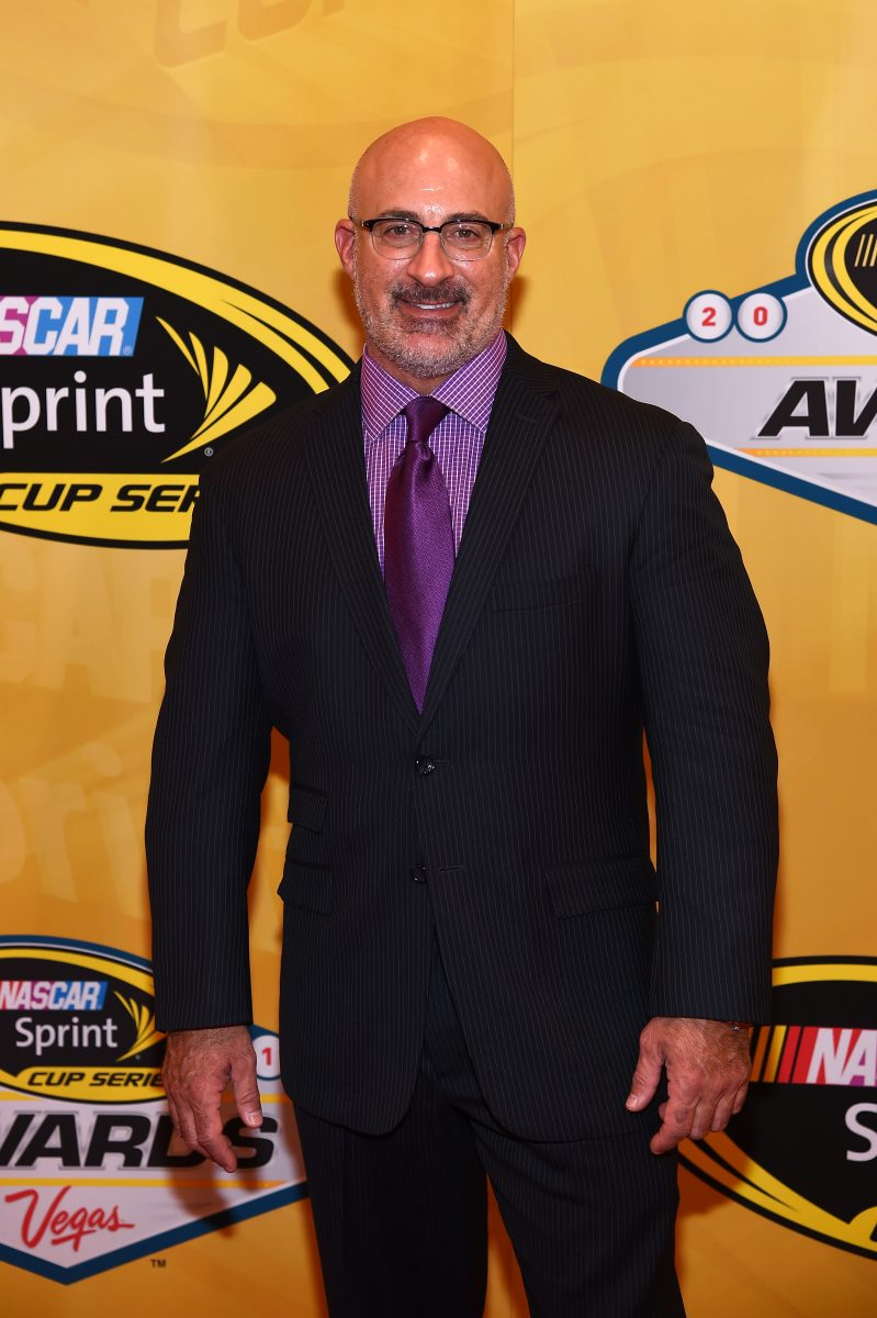 Meteorologist Jim Cantore smiles for a photo on the red carpet at the NASCAR Sprint Cup Series Awards
