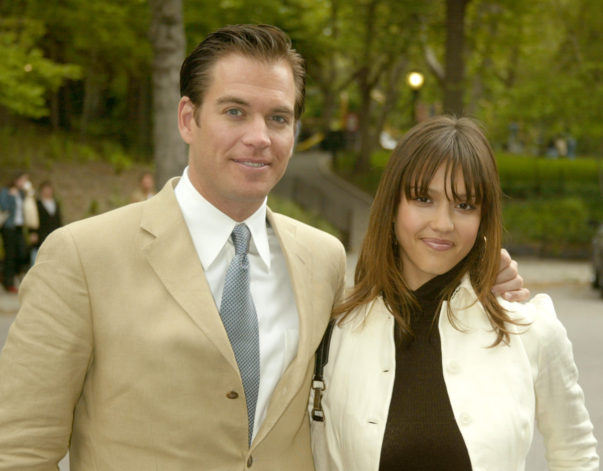 Michael Weatherly and Jessica Alba during 2003-2004 CBS Upfront - After Party at Tavern on the Green in New York City, New York, United States