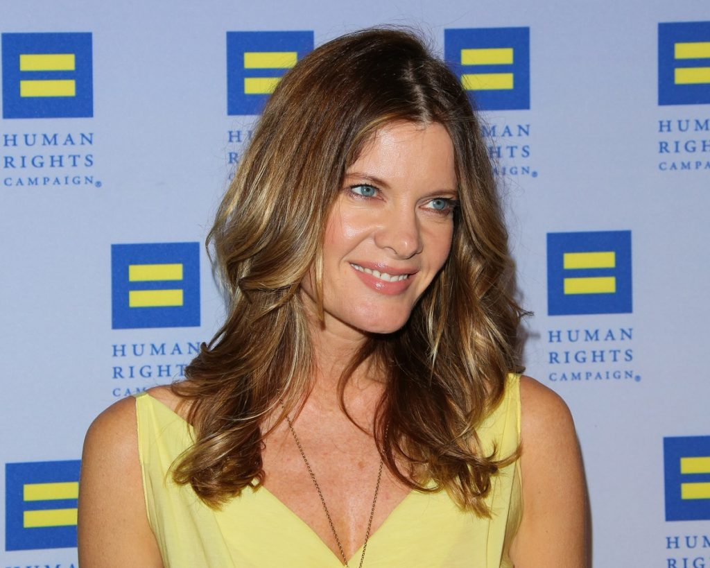 'The Young and the Restless' actor Michelle Stafford wears a yellow dress at the 2015 Human Rights Los Angeles Gala Dinner.