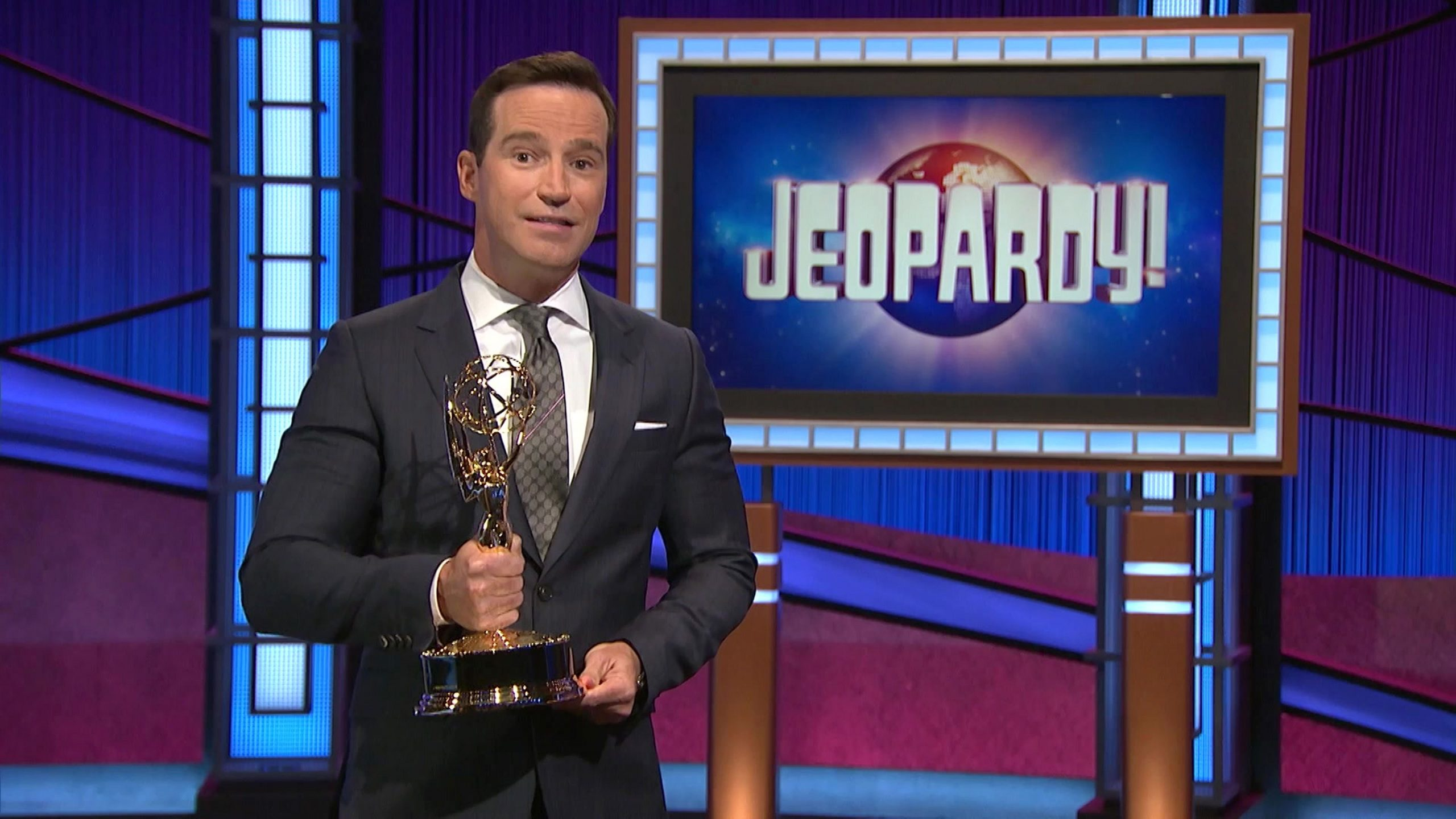 'Jeopardy!' executive producer Mike Richards accepts the show's Emmy award for Outstanding Game Show in 2021.