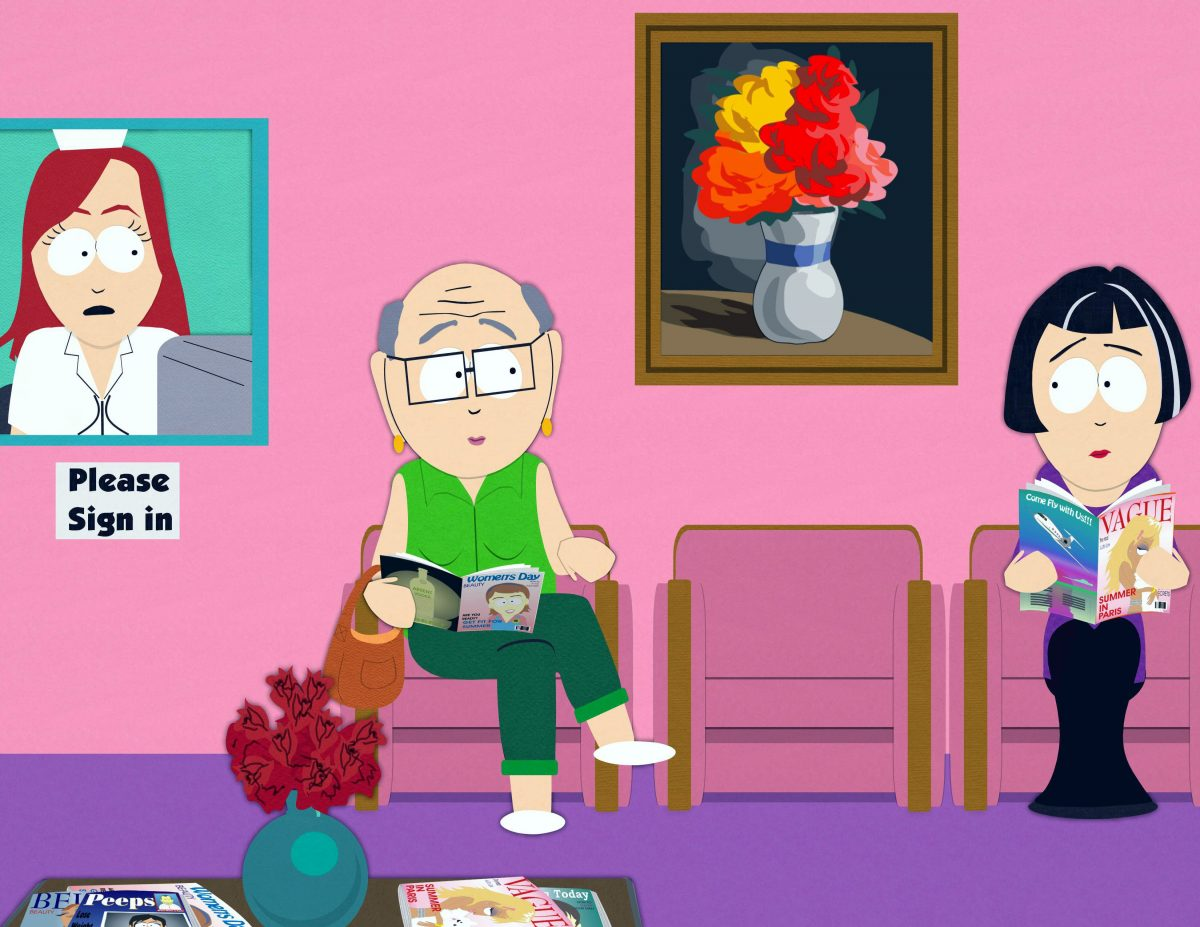 Mr. Garrison waits in a doctor's office